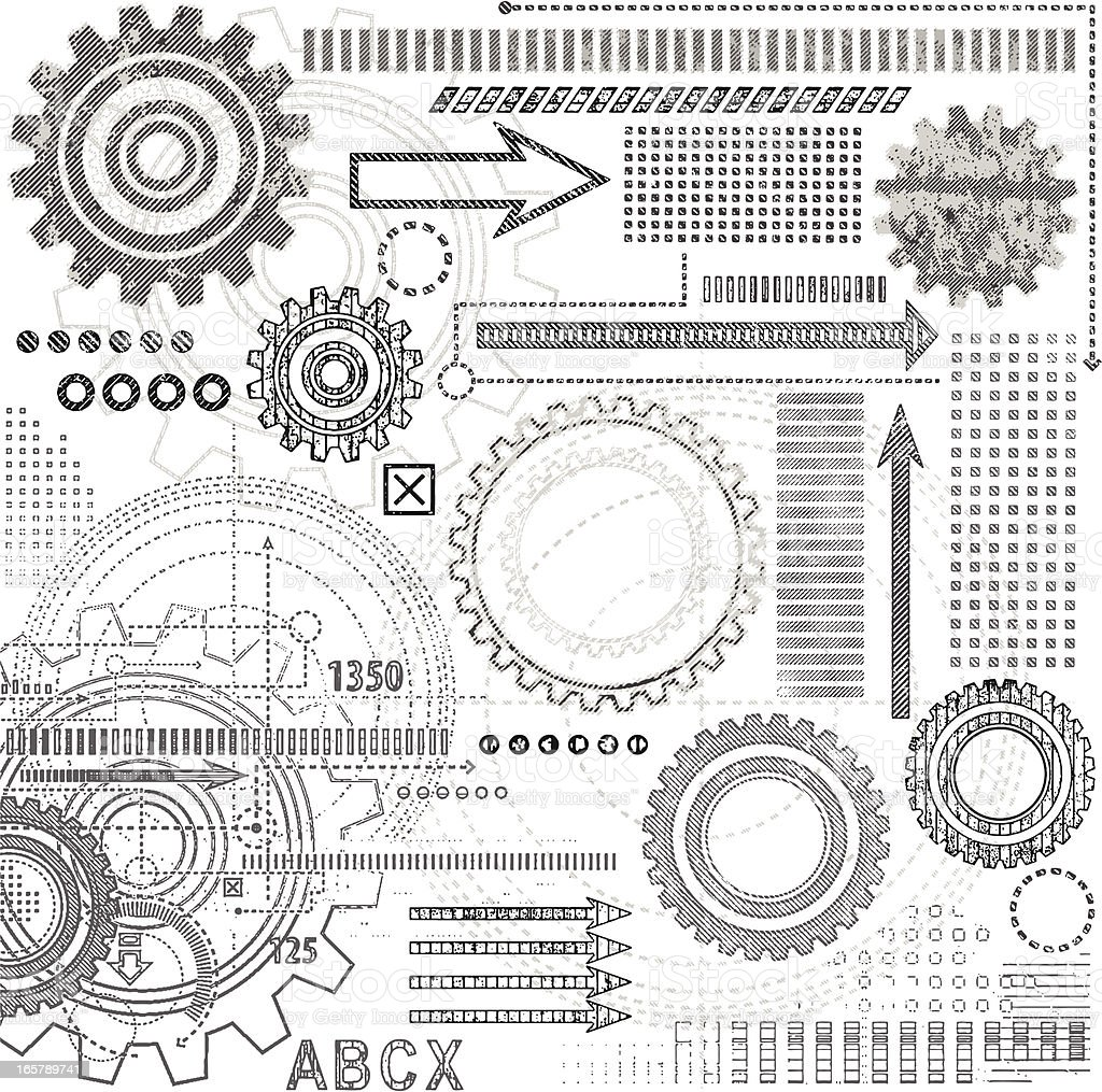 Grunge Technical Drawing Elements royalty-free stock vector art