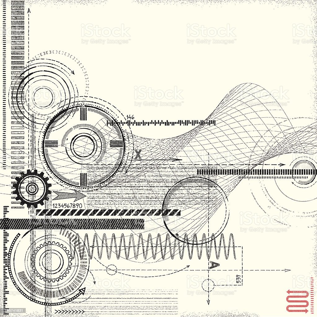 Grunge Technical Drawing royalty-free stock vector art
