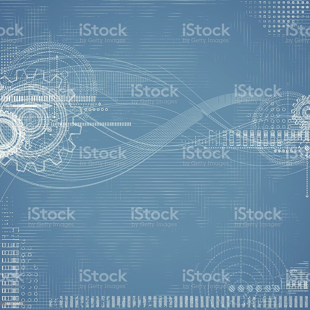 Grunge Technical Drawing-Blueprint royalty-free stock vector art