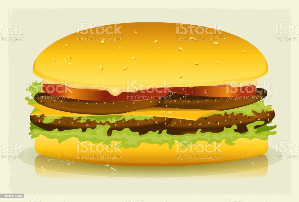 Grunge Textured Long Burger Poster royalty-free stock vector art