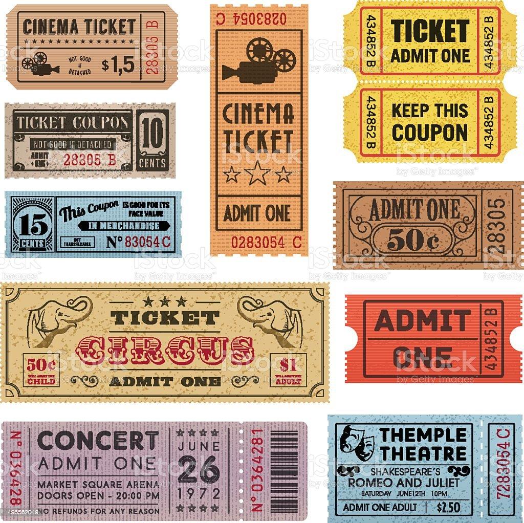 Grunge Tickets Collection 1 vector art illustration