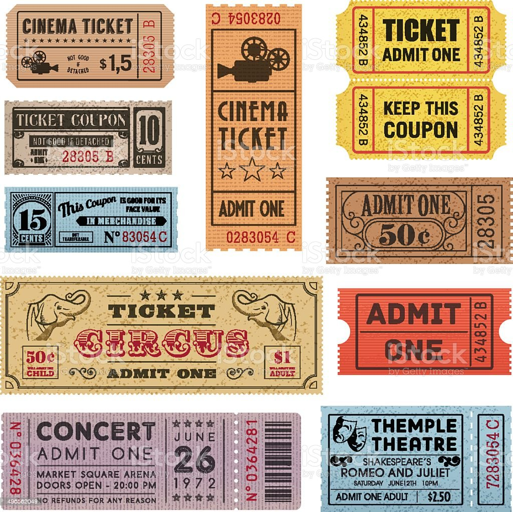 Grunge Tickets Collection 1 vector art illustration
