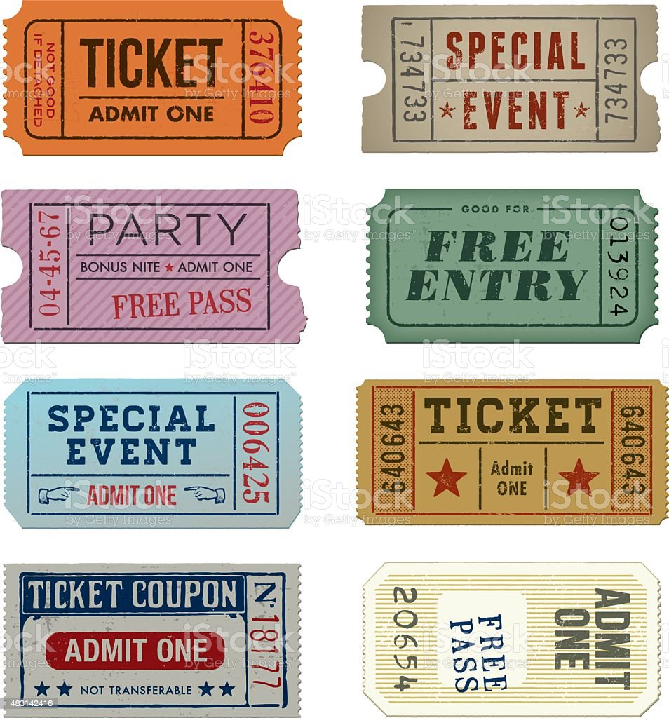 Grunge Tickets Collection - Illustration vector art illustration