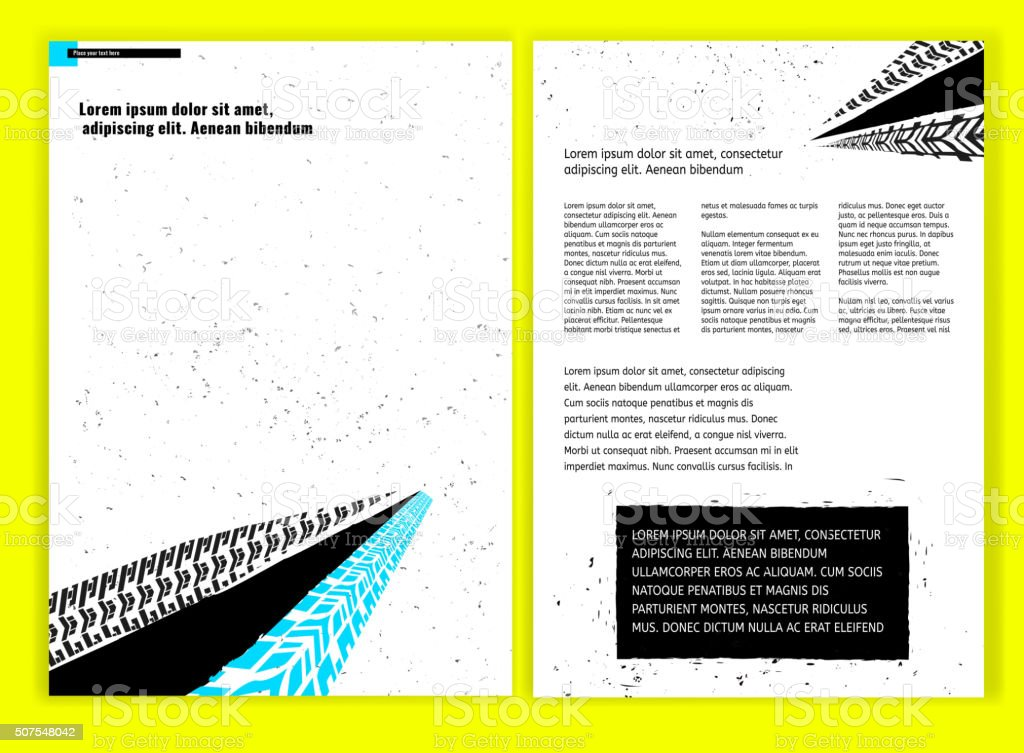 Grunge Tire Brochure vector art illustration