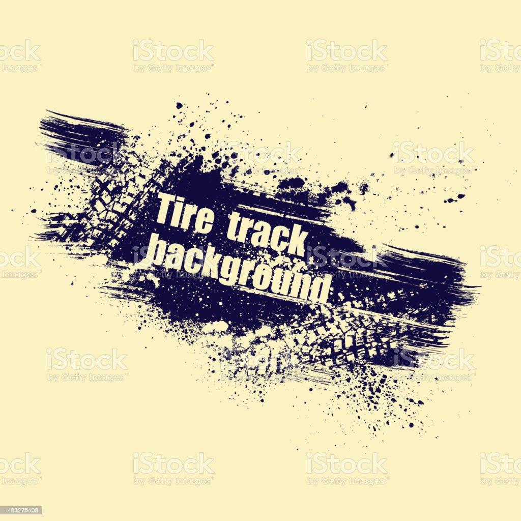Grunge tire track background vector art illustration