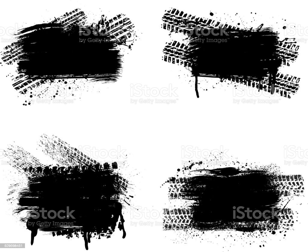 Grunge tire track set vector art illustration