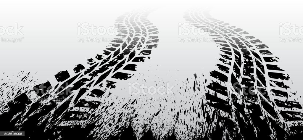 Grunge tire track vector art illustration