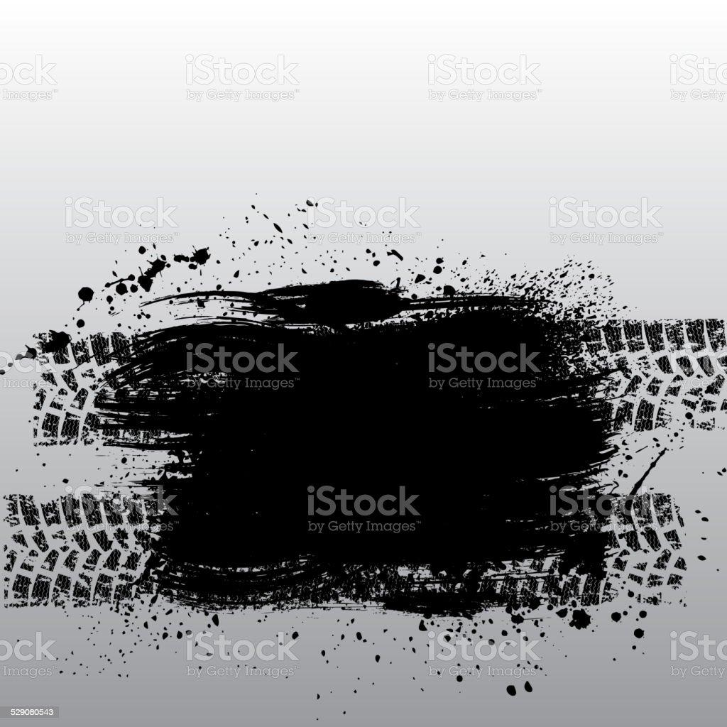 Grunge tire track vector art illustration