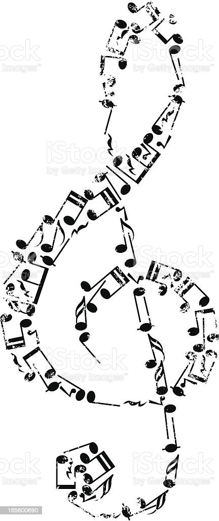 Grunge treble clef. royalty-free stock vector art