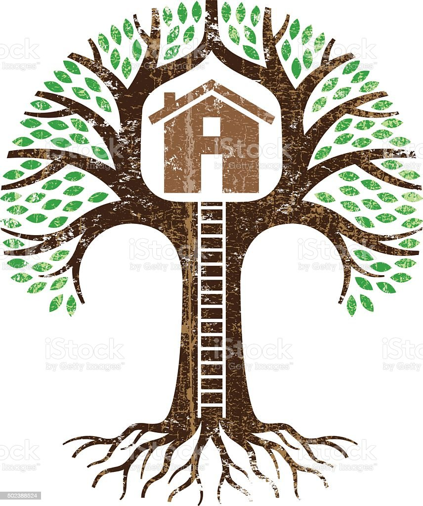 Grunge treehouse illustration vector art illustration