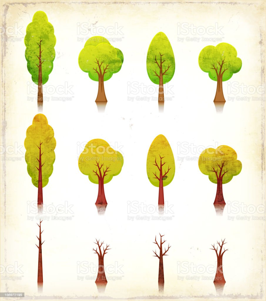 Grunge Trees Icons Set royalty-free stock vector art