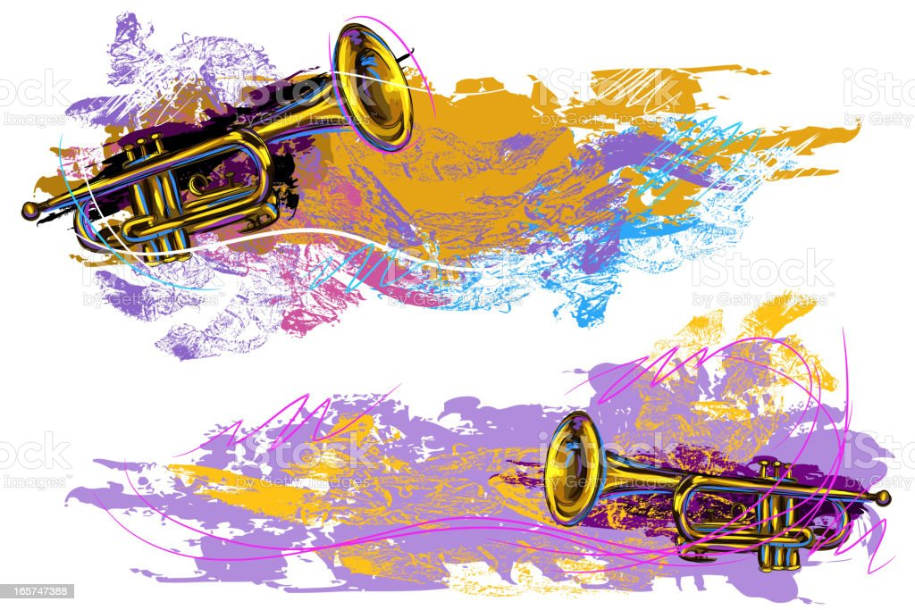 Grunge Trumpet Background/banners vector art illustration