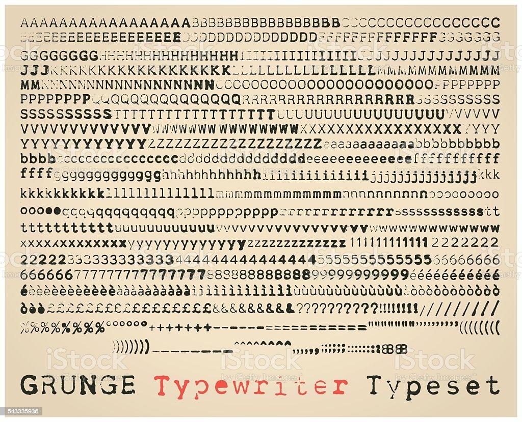 Grunge typewriter typeset vector art illustration