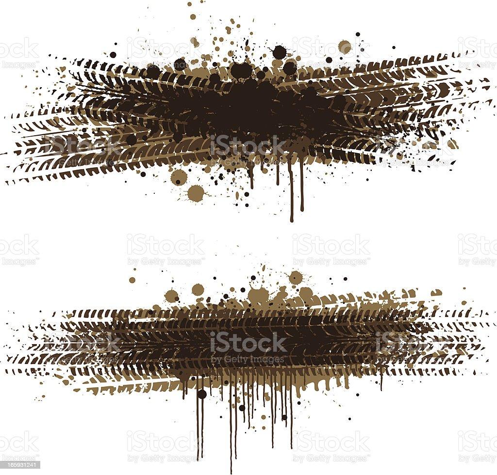 Grunge tyre splats vector art illustration