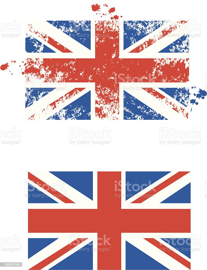Grunge UK flag vector art illustration