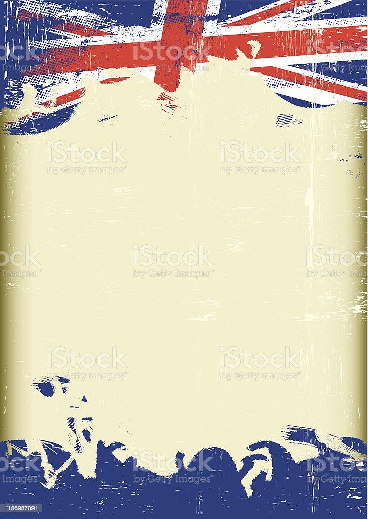 Grunge UK flag vector art illustration