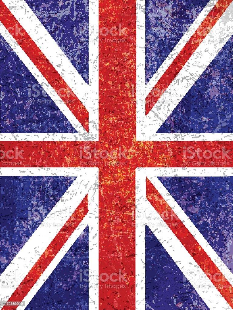 Grunge Union Jack background vector art illustration