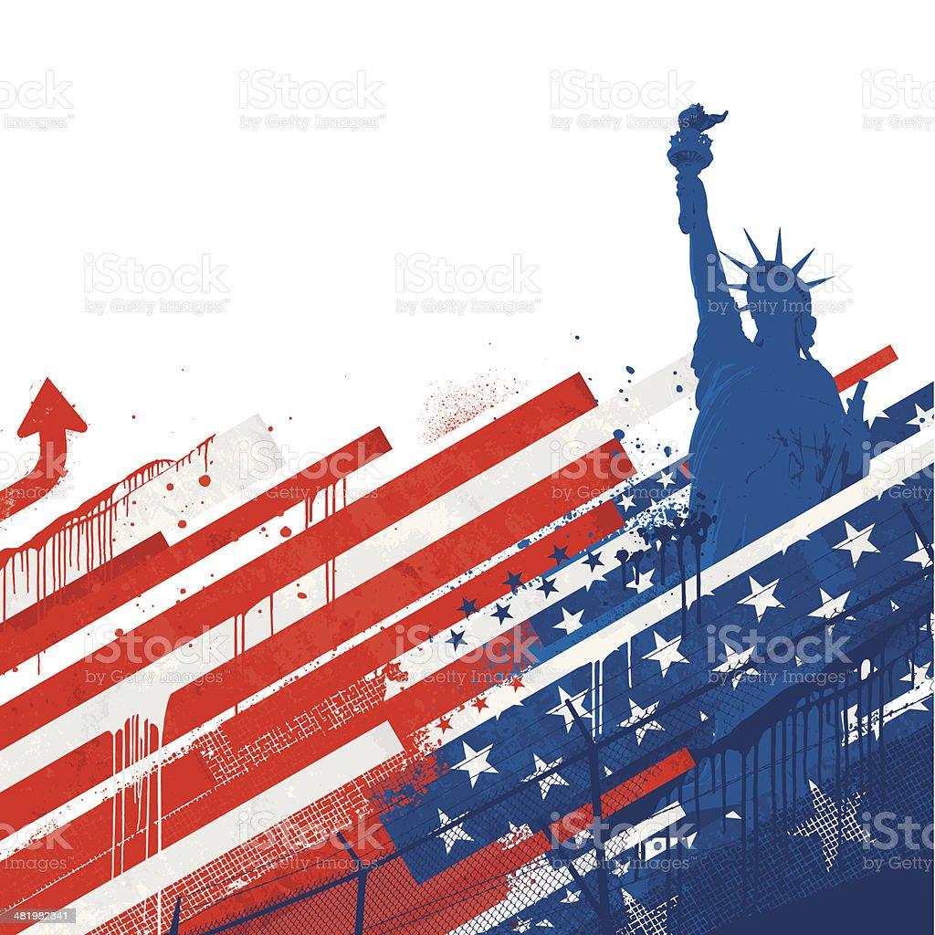 Grunge USA background vector art illustration