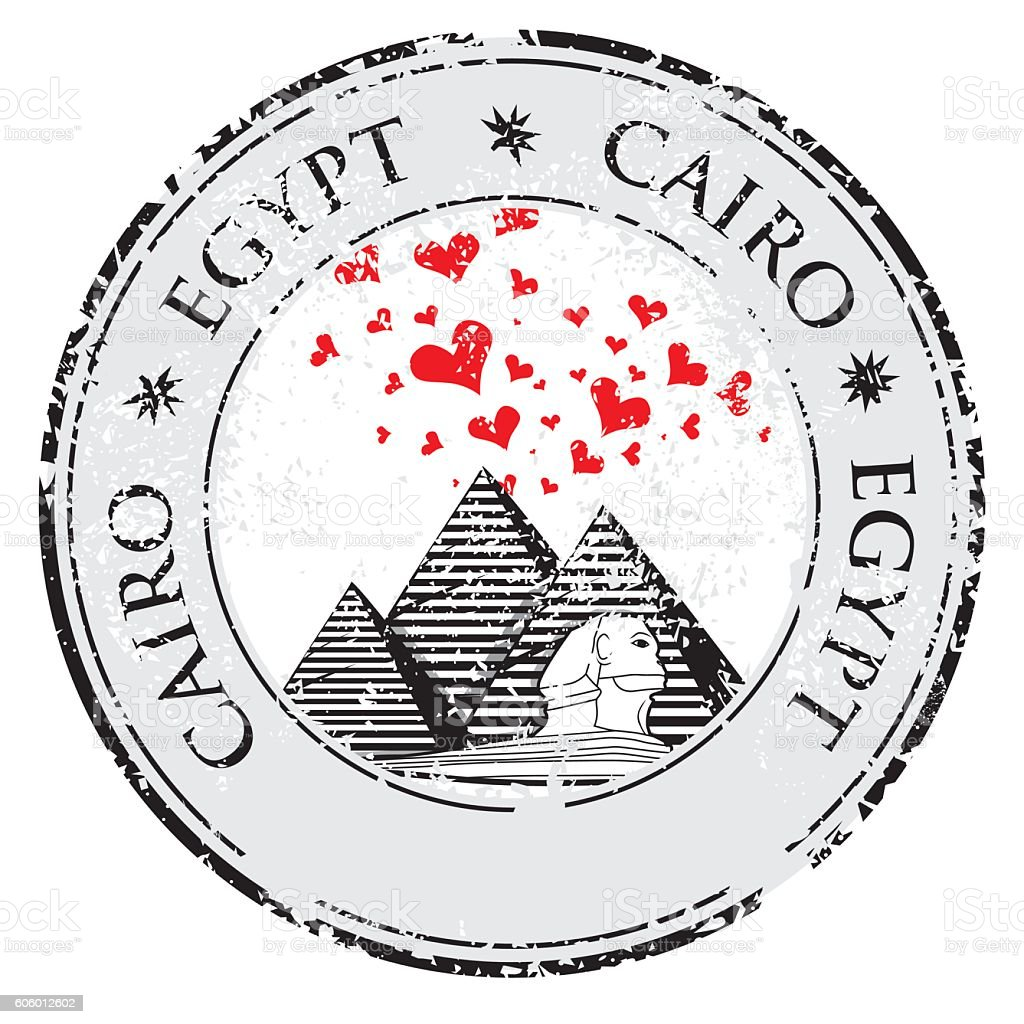Grunge valentines day stamp with Pyramid and love heart vector vector art illustration