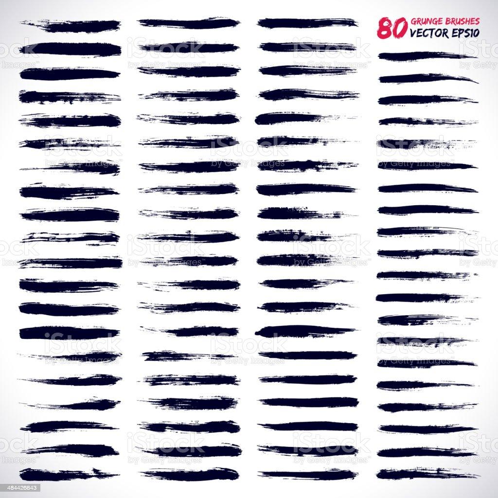 80 grunge vector brushes vector art illustration