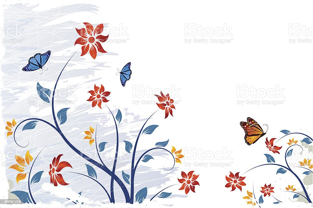 Grunge vector flower background with butterfly royalty-free stock vector art