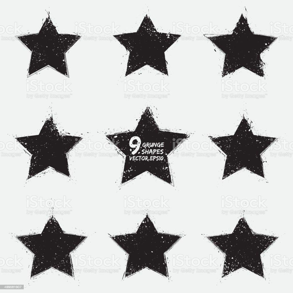 Grunge vector stars vector art illustration