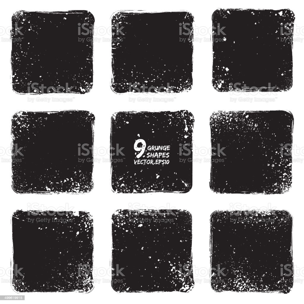 Grunge vector textured shapes vector art illustration