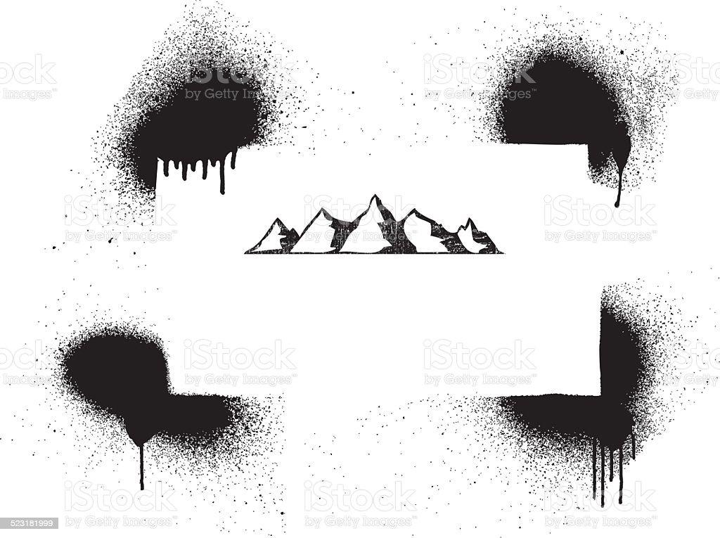 grunge vintage mountain frame vector art illustration
