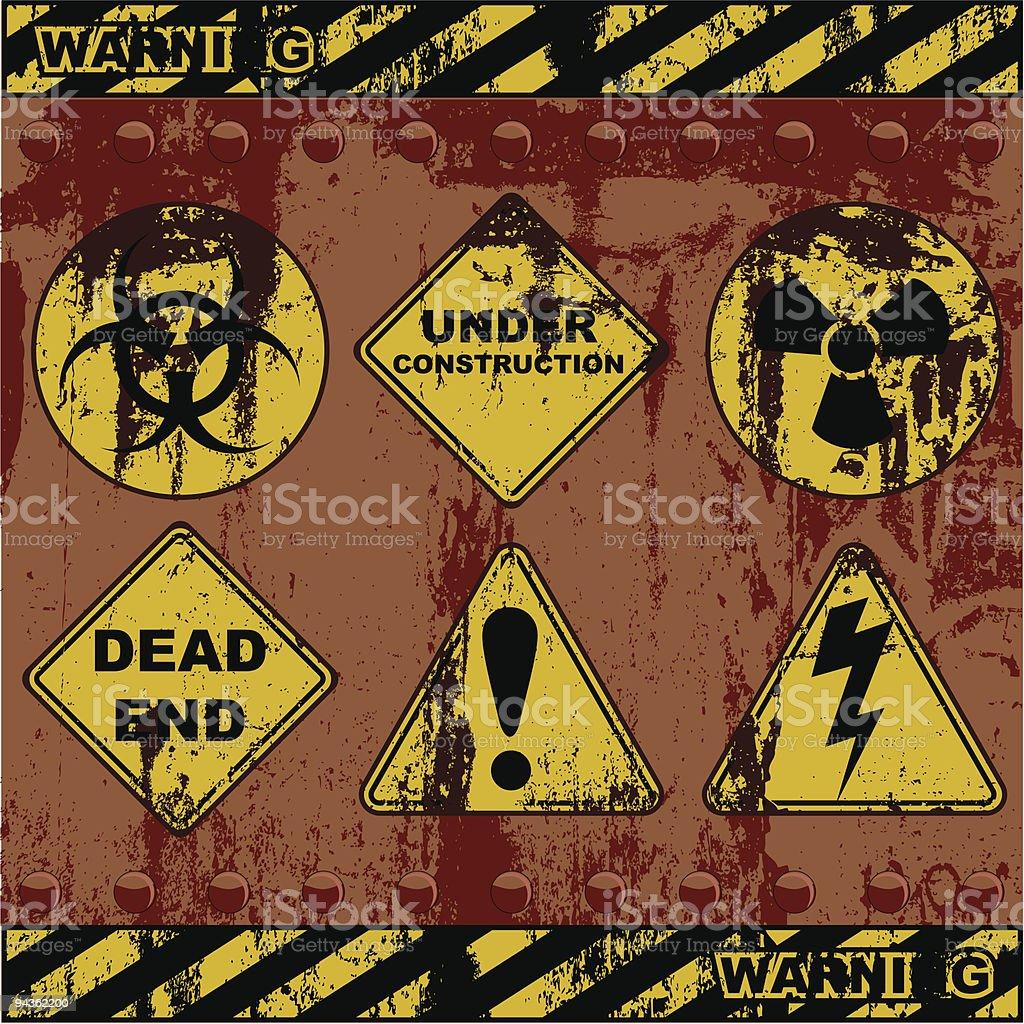 Grunge Warning Sign Icons royalty-free stock vector art