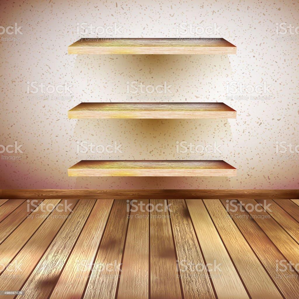 Interior wooden shelves free vector - Grunge Wooden Interior With Shelf Eps 10 Royalty Free Stock Vector Art