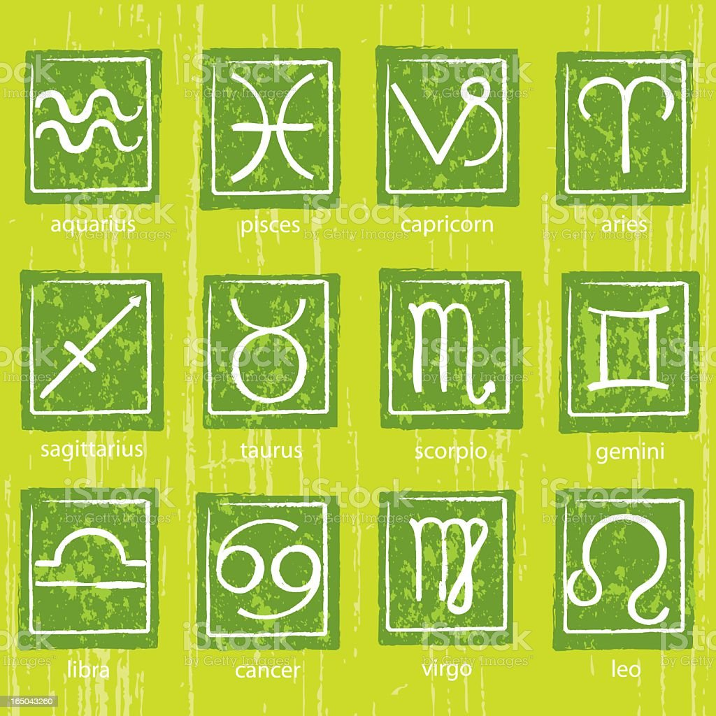 Grunge Zodiac Symbols royalty-free stock vector art