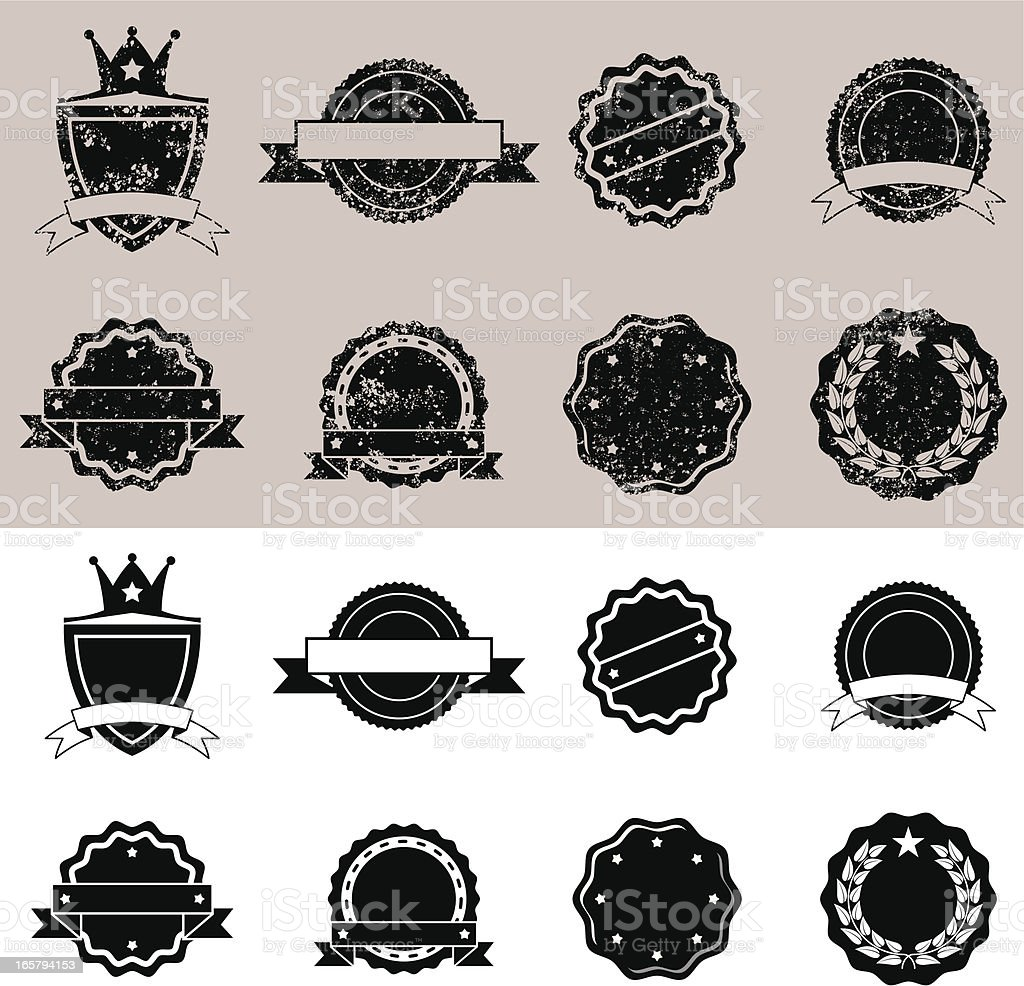 Grunged & Clean Stamp Set royalty-free stock vector art