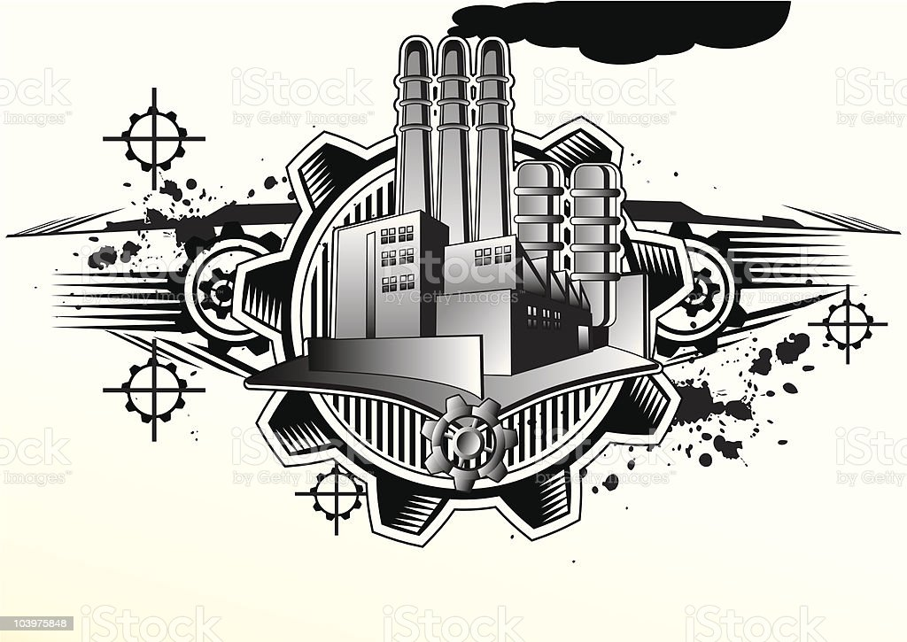 Grunged factory emblem royalty-free stock vector art