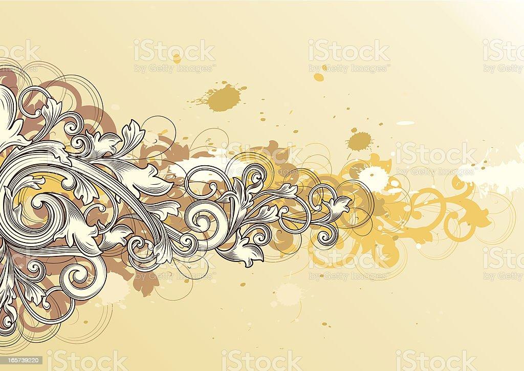 Grunged scroll vector art illustration