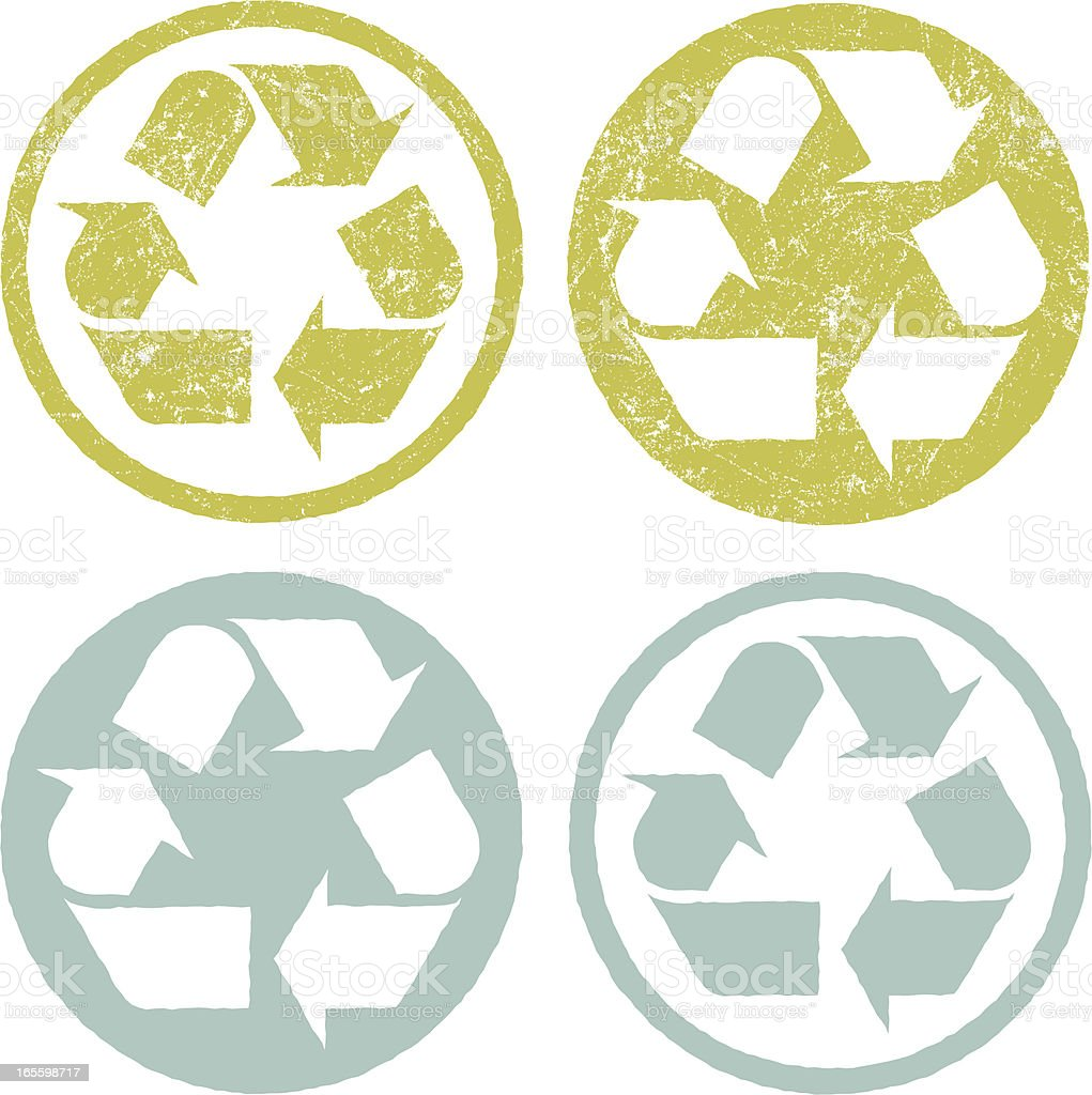 Grunge/Rubber Stamp Recycling Symbol royalty-free stock vector art
