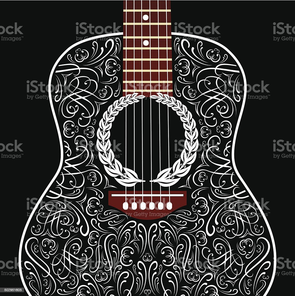 grungy background with black acoustic guitar vector art illustration
