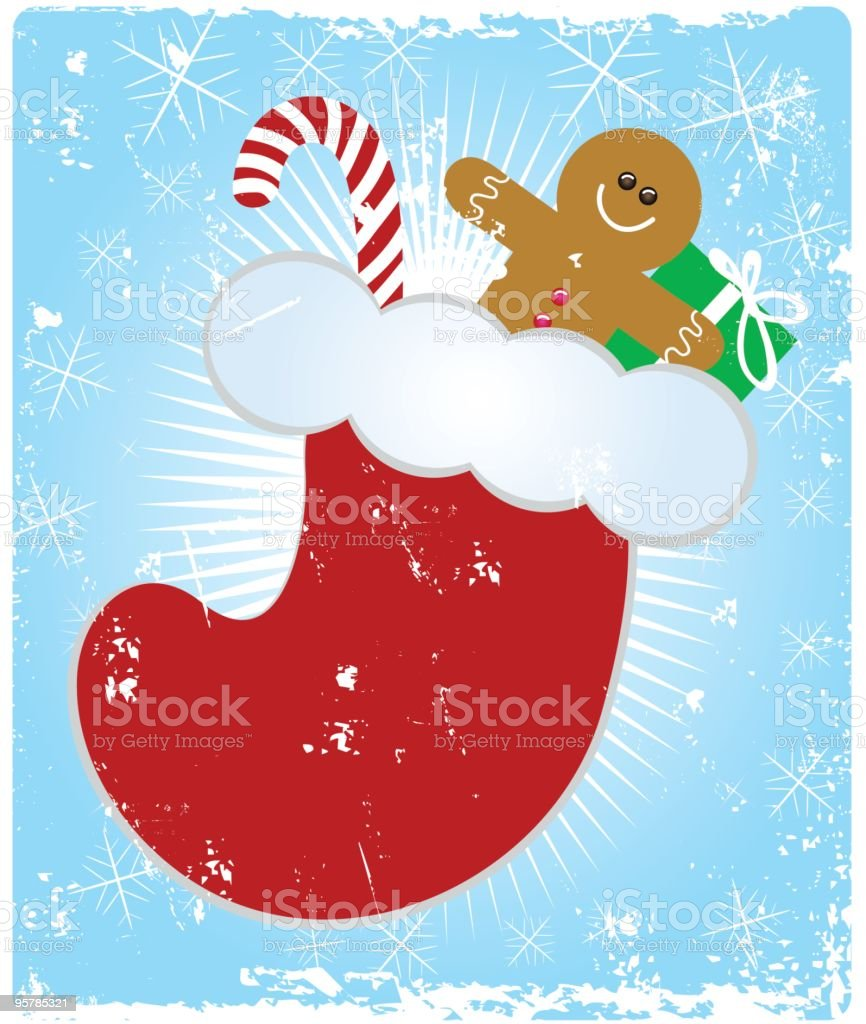 Grungy Christmas stocking royalty-free stock vector art