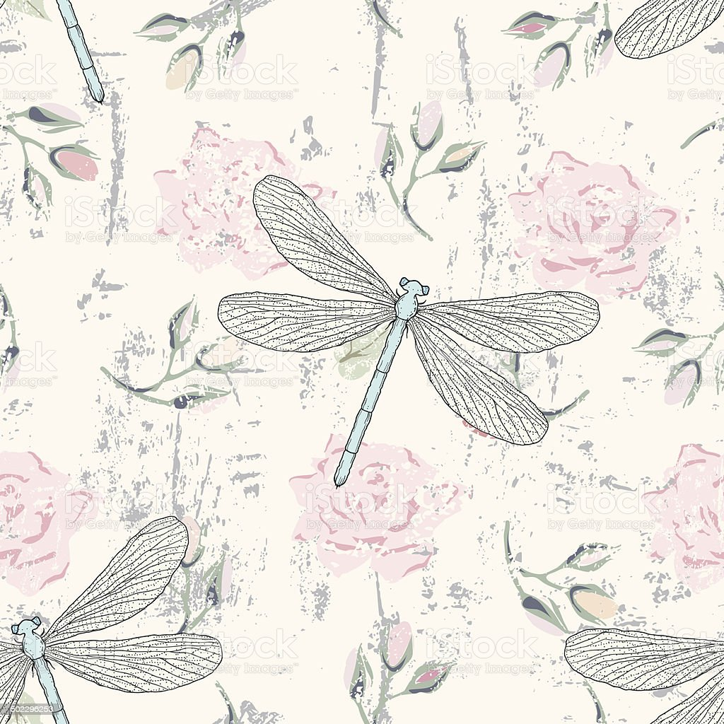 grungy floral seamless pattern with dragonflies vector art illustration