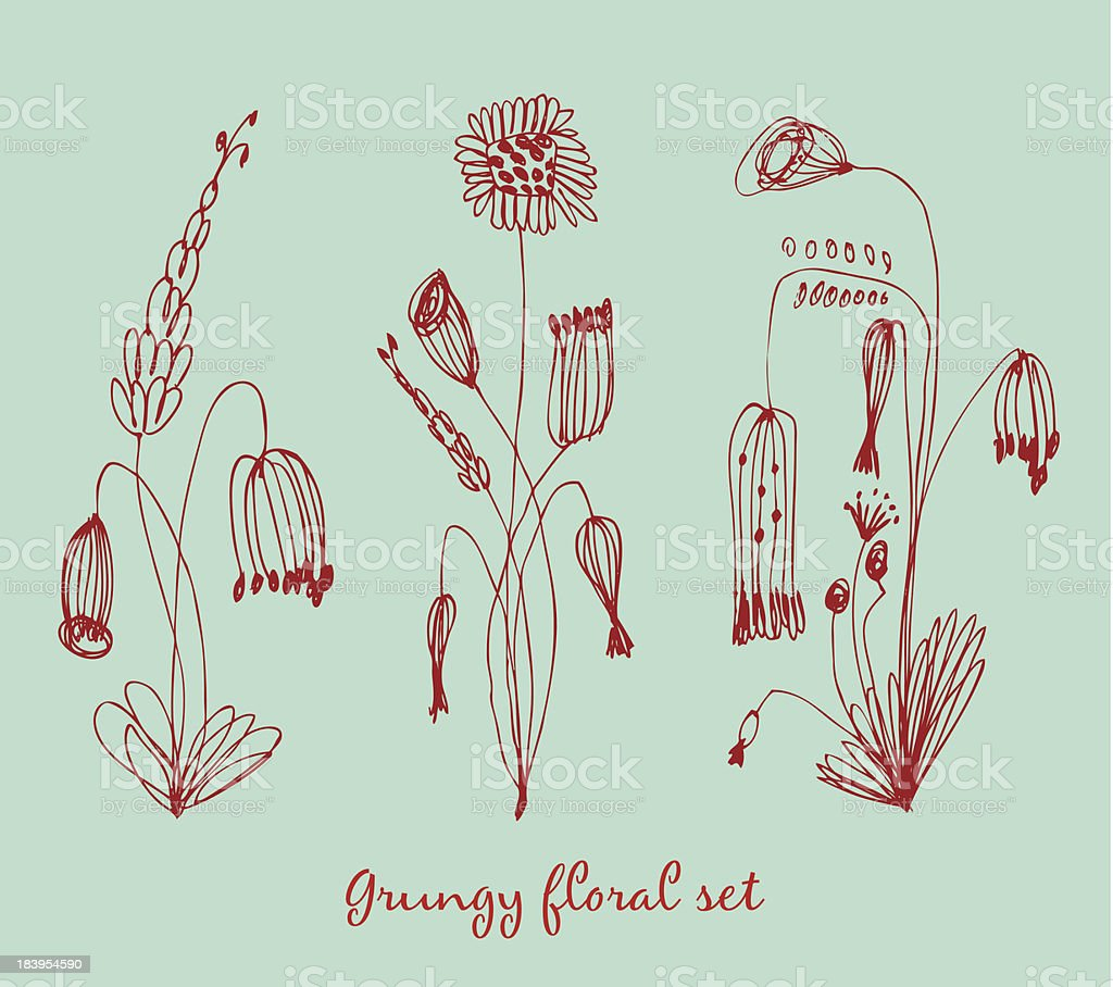 Grungy floral set. Collection of vintage bouquets royalty-free stock vector art