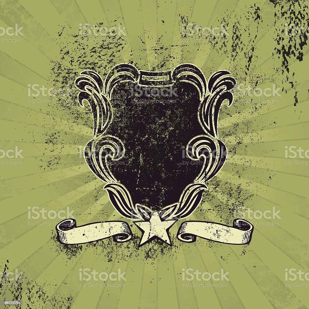 Grungy Flourished Crest royalty-free stock vector art