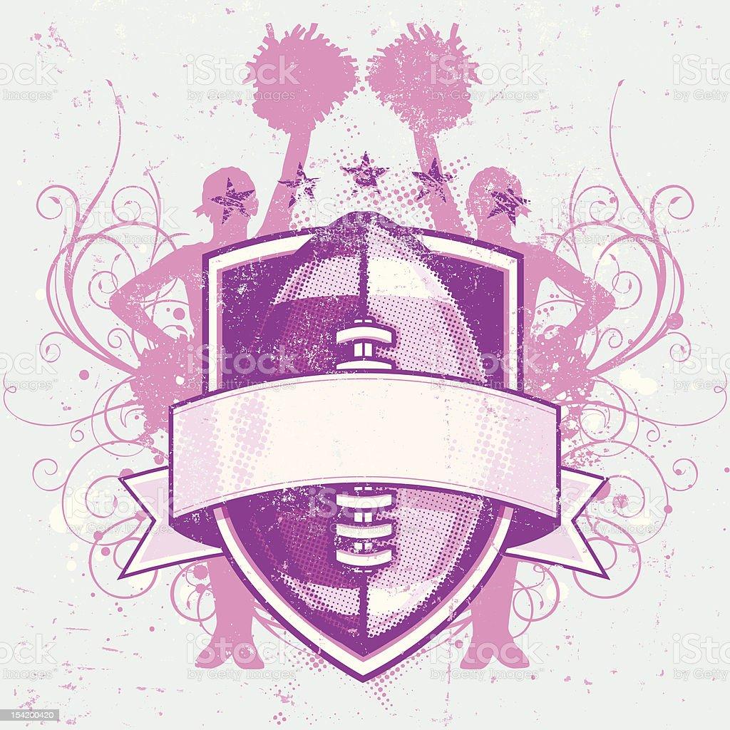 Grungy Football Cheerleader Crest vector art illustration