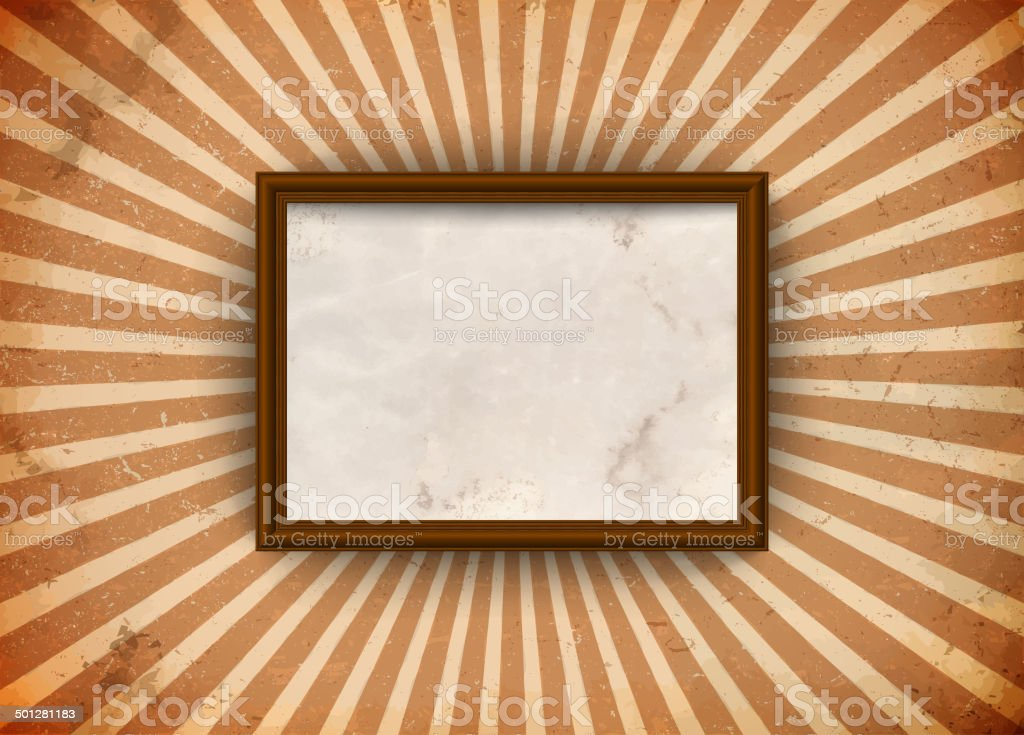 Grungy frame with rays royalty-free stock vector art