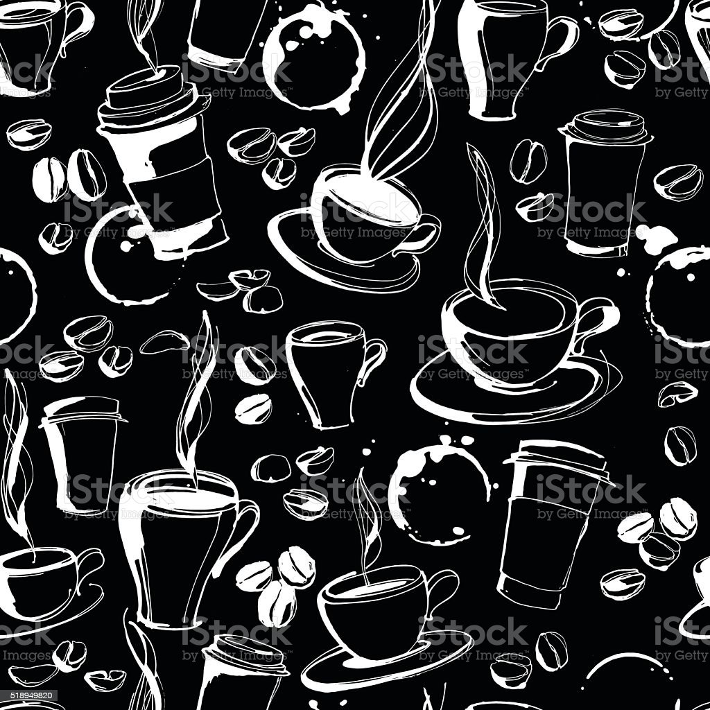 Grungy hand drawn ink coffee to go, cups, mugs beans vector art illustration