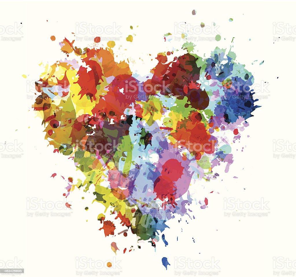 Grungy heart vector art illustration