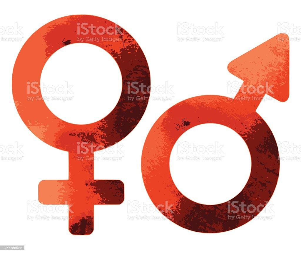 Grungy red sex symbols vector art illustration