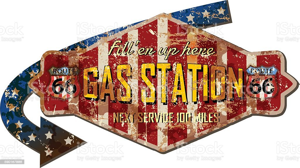 grungy retro route 66 gas station sign vector art illustration