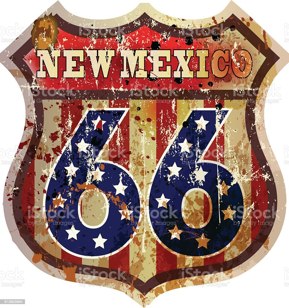 Grungy Route 66 sign,New Mexico vector art illustration