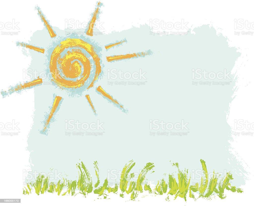 Grungy Sun Background royalty-free stock vector art