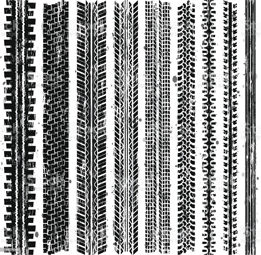 Grungy Tire Tracks (Seamless) vector art illustration