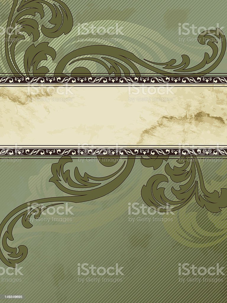 Grungy vertical Victorian vintage banner royalty-free stock vector art